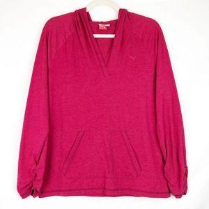 Puma Hoodie Sweatshirt Athletic Hot Pink Pocket L